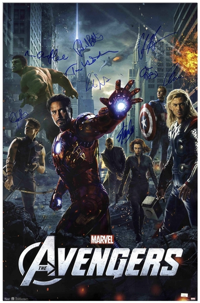 Stan Lee Signed ''The Avengers'' Poster -- Also Signed by 8 Members of the 2012 Film's Cast
