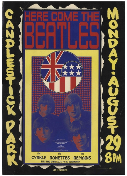 The Beatles Last Concert Poster as a Touring Band, From 29 August 1966 at Candlestick Park -- First Printing
