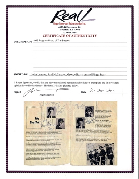 Beatles Signed Concert Program From 1963 -- Each of the Beatles Sign Effusively Next to Their Photo, Without Inscription -- With Roger Epperson COA for All Four Signatures