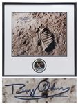 Buzz Aldrin Signed 20 x 16 Photo of the Footprint Upon the Moon -- Aldrin Also Handwrites the Date of the Moon Landing -- With Novaspace COA
