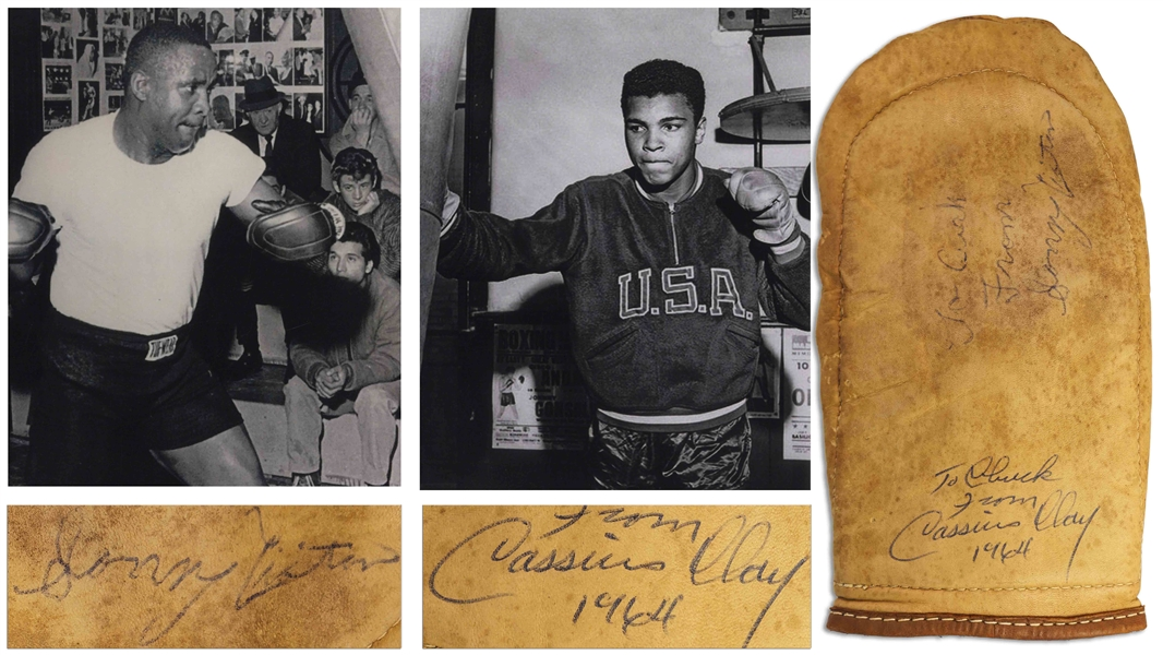 Muhammad Ali Signed Boxing Bag Glove From 1964 as Cassius Clay -- Also Signed by Sonny Liston -- With COA From Craig R. Hamilton