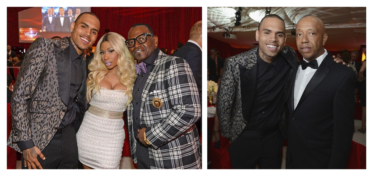 Chris Brown Worn Jacket to the 2013 Elton John AIDS Foundation Academy Awards Viewing Party