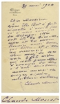 Claude Monet Autograph Letter Signed -- Monet Orders Wine for the Art Critic Octave Mirbeau, and Praises an Order of Asparagus