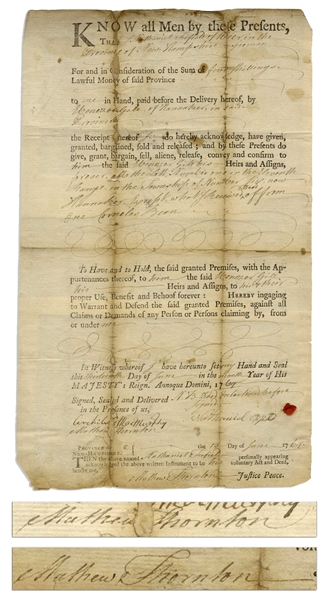 Declaration of Independence Signer Matthew Thornton Twice-Signed Document From 1769 as Justice of the Peace