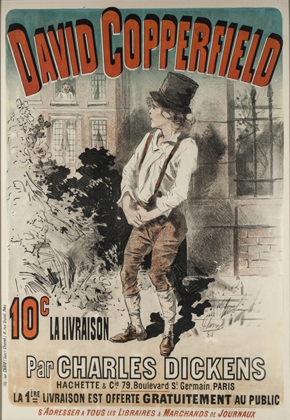 Large 19th Century Lithographic Poster of ''David Copperfield'' by Jules Cheret, Advertising the 1885 French Edition -- Measures 33.5'' x 48''