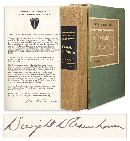 Dwight D. Eisenhower Signed D-Day Speech From the Limited Edition of ''Crusade in Europe'' -- Housed in Rare Slipcase