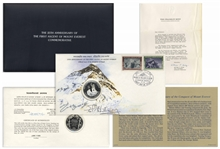 Sir Edmund Hillary & Tenzing Norgay Signed First Day Cover -- With Limited Edition Coin Marking the 25th Anniversary of Everests First Ascent