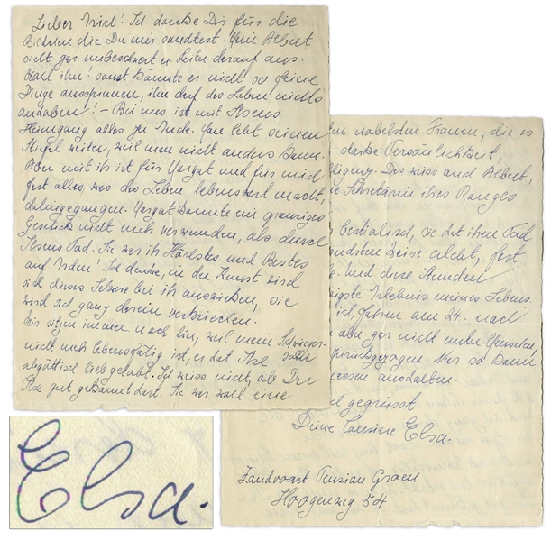 Elsa Einstein 1933 Autograph Letter Signed After the Passing of Her Daughter, Ilse -- ''...most sensitive and generous...A strong and highly intelligent personality. Albert...knows that as well...''