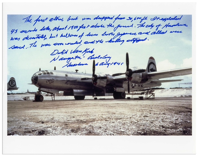 Dutch Van Kirk Autograph Statement Signed on a 10'' x 8'' Photo of the Enola Gay, Regarding Dropping the Atomic Bomb -- ''...The war soon ended and the killing stopped...''