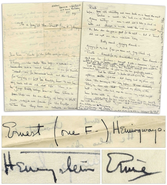 Ernest Hemingway Autograph Letter Signed Three Times, Including as ''Hemingstein'', Announcing the Birth of His Son -- ''...This makes three boys - a matador - a banderellero and a sword handler...''