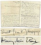 Ernest Hemingway Autograph Letter Signed Three Times, Including as Hemingstein, Announcing the Birth of His Son -- ...This makes three boys - a matador - a banderellero and a sword handler...