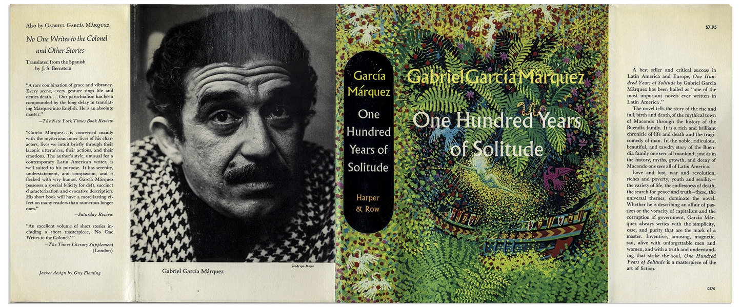 ''One Hundred Years of Solitude'' First Edition by Gabriel Garcia Marquez -- Near Fine Condition
