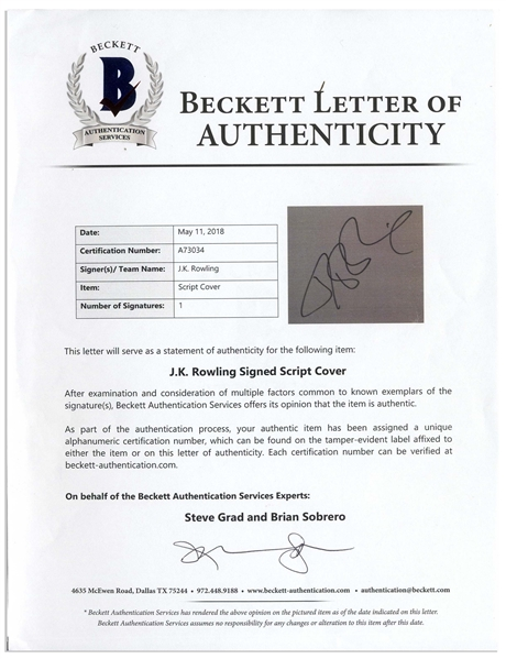 J.K. Rowling Signed Screenplay for ''Harry Potter and the Goblet of Fire'' -- With Beckett COA