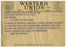 Gone With the Wind Telegram, Authorizing David O. Selznick to Enter Into Contracts With Loews, Inc. to Secure Clark Gable for the Role of Rhett Butler