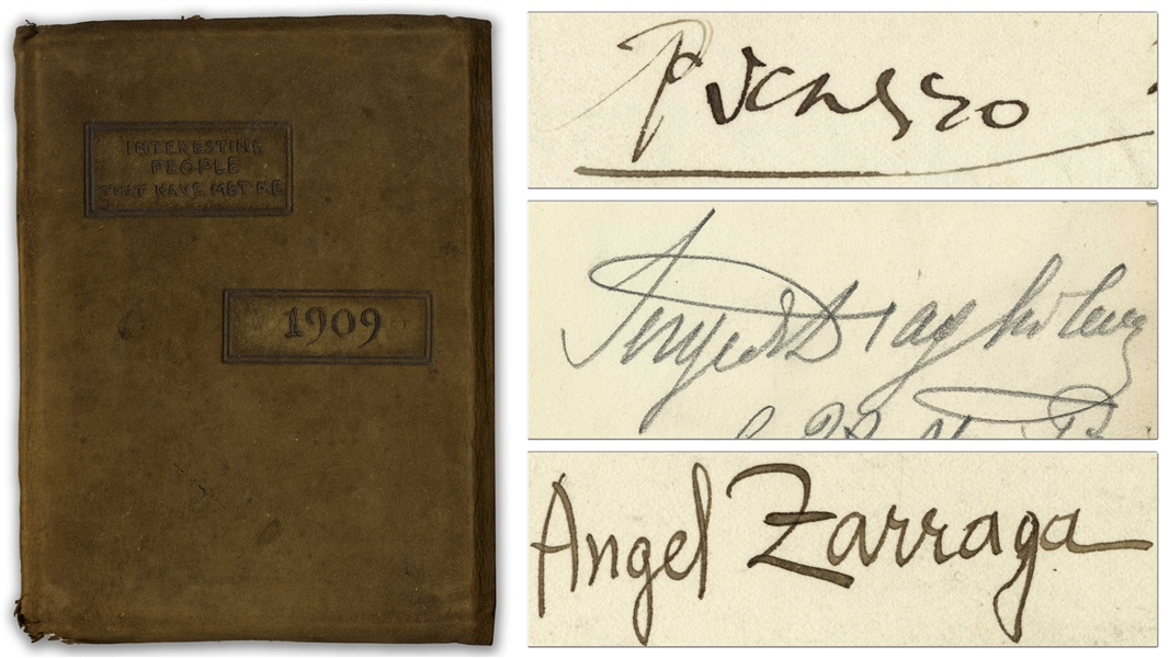 Pablo Picasso Autograph -- Within an Autograph Book Owned by Film Director Harry Lachman, Featuring Dozens of Signatures by His Friends, Including Sergei Diaghilev & Angel Zarraga