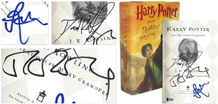 J.K. Rowling, Daniel Radcliffe & Rupert Grint Signed First U.S. Edition of Harry Potter and the Deathly Hallows -- With Beckett COA