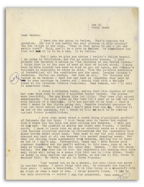 Hunter S. Thompson Typed Letter From 1964 With Hand-Annotations -- ''...I am going to California, and for no particular reason...God fuck us all...''