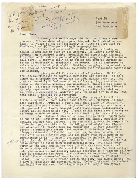 Hunter S. Thompson Letter From 1964 -- ''...Gone creepy sentimental, like Salinger, who may be dead by now. Ah this writing is a shitty game and god knows what will come of my involvement in it...''