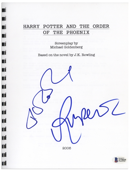 J.K. Rowling & Rupert Grint Signed Screenplay for ''Harry Potter and the Order of the Phoenix'' -- With Beckett COA