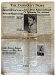 James Deans Hometown Newspaper Announcing His Death