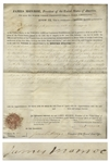 James Monroe Land Grant Signed as President, Awarding 50 Acres to a Military Veteran