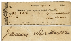 James Madison Check Signed and Handwritten as President in 1814