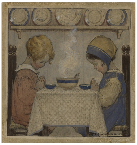 Jessie Willcox Smith Original Cover Art for ''Good Housekeeping'' From November 1920 Entitled ''We Give Thee Thanks''