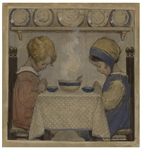 Jessie Willcox Smith Original Cover Art for Good Housekeeping From November 1920 Entitled We Give Thee Thanks