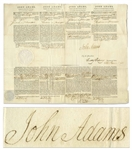 John Adams 4-Language Ships Papers Signed as President During the French-American Naval Quasi-War