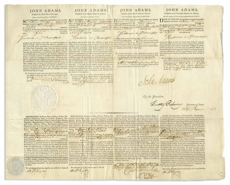 John Adams 4-Language Ship's Papers Signed as President During the French-American Naval Quasi-War
