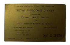 Texas Welcome Dinner Ticket, Scheduled for John F. Kennedy on 22 November 1963