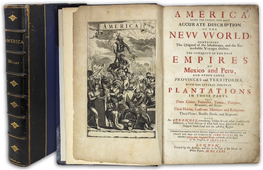 First Edition of ''America, Being the Latest, and Most Accurate Description of the New World'' From 1671 by John Ogilby -- A Superior Copy With Nearly All 58 Plates & Maps Present