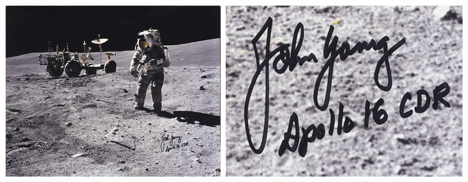 Very Rare John Young Signed 20'' x 16'' Photo of Young on the Moon -- With Novaspace COA