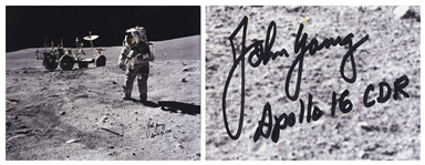 Very Rare John Young Signed 20 x 16 Photo of Young on the Moon -- With Novaspace COA