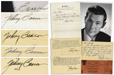 Johnny Carson Lot of Signed Memorabilia From 1953 -- Includes 8 x 10 Signed Photo, Two Autograph Letters Signed, Two Typed Letters Signed & a Ticket to Carsons Show Carsons Cellar