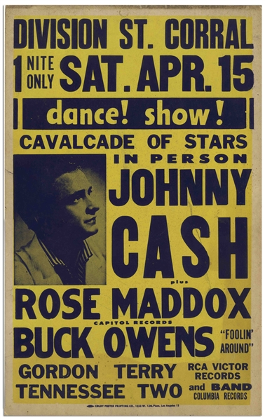 Early Johnny Cash Concert Poster From 1961