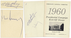 John F. Kennedy and Hubert Humphrey Signed Program for the DNCs 1960 Presidential Campaign Kick-Off Dinner
