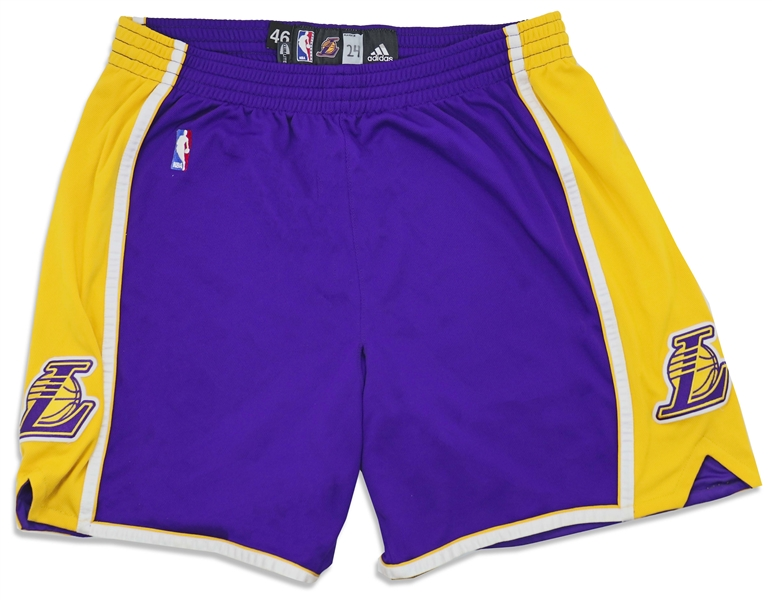 Kobe Bryant Game-Worn Lakers Road Shorts with Team Letter COA