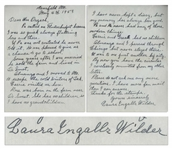 Laura Ingalls Wilder Autograph Letter Signed -- ...Pa called me Flutterbudget because I was so quick always fluttering here and there...Pa and Ma never had any of those modern things...