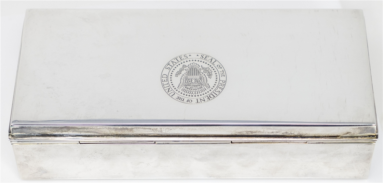 Lyndon B. Johnson Owned Silver Tiffany Cigarette Box With Presidential Seal -- Used by LBJ as President