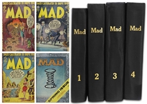 63 Issues of Mad Magazines From Issue #7 in 1953 to Issue #69 in 1962,  Bound in Four Volumes -- Also Includes the Sole Two Issues of Trump Magazine Published by Hugh Hefner in 1957