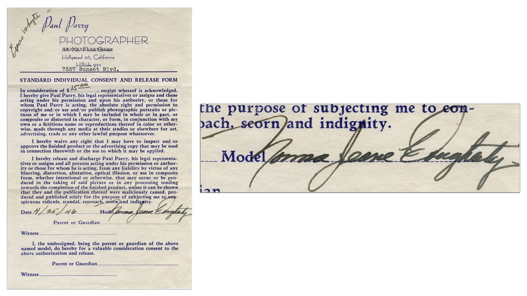 Marilyn Monroe Photographer's Release From 1946, Signed ''Norma Jeane Dougherty''