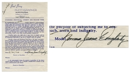 Marilyn Monroe Photographers Release From 1946, Signed Norma Jeane Dougherty