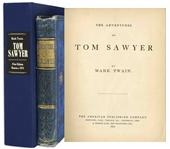 Mark Twain Adventures of Tom Sawyer First Edition, Second Printing -- Bound in Publishers Blue Cloth