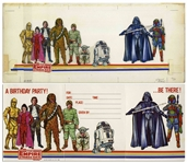 Original 1980 Artwork of All Nine Characters From Star Wars: Episode V - The Empire Strikes Back