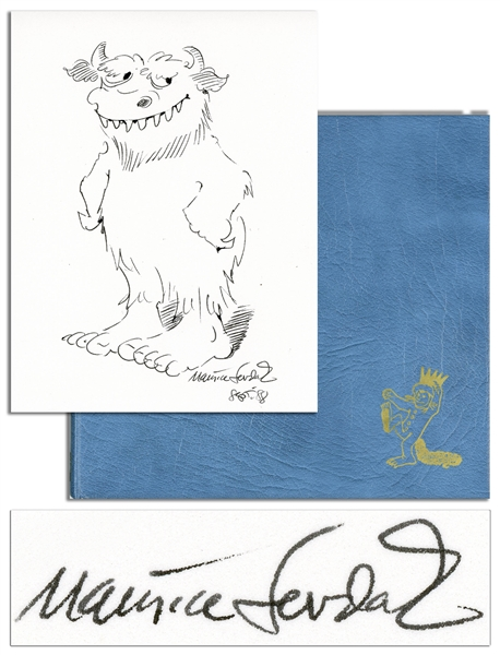 Original ''Wild Things'' Drawing by Maurice Sendak -- Included With a Signed Limited 25th Anniversary Edition of ''Where the Wild Things Are'' -- Near Fine Condition