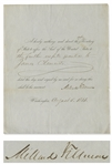 Millard Fillmore Document Signed as President -- Fillmore Grants Respite