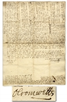 Important Oliver Cromwell Autograph Letter Signed From 1648 Regarding His Sons Matrimony -- ...Mr. Maijor desired 400l. per annum of inheritance...wherein I desired to be advised by my wife...