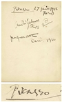 Pablo Picasso Autograph From 1916 -- With University Archives COA