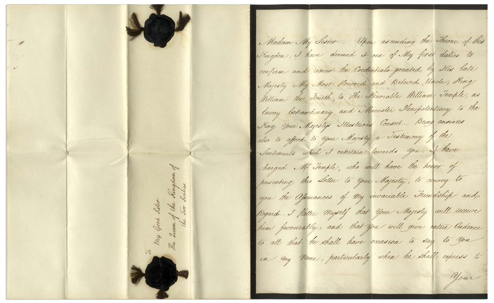 Queen Victoria Letter Signed From 1837, Just 7 Days After Her Ascension to Queen -- ''...Upon ascending the throne of this Kingdom...''